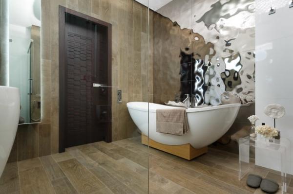 Отделка стен в ванной: виды, варианты дизайна, цветовая гамма, примеры декора