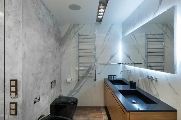 Потолок в туалете: виды по материалу, конструкции, фактуре, цвету, дизайн, освещение